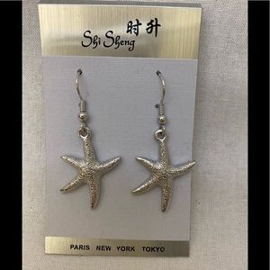 💙2/$15 Fashion Silver Pierced Earrings Starfish
